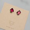 The January Collection - Geometric Garnet Stud Earrings No. 2