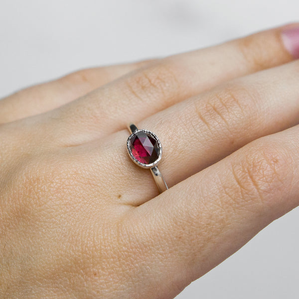The January Collection - Garnet Stacking Ring in Sterling Silver No. 2