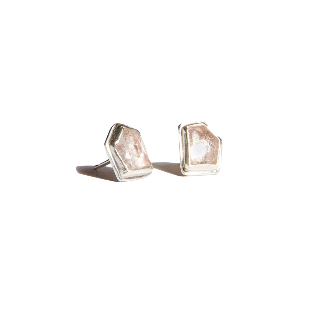 Aurora Gemstone Stud Earrings - Morganite in Sterling Silver