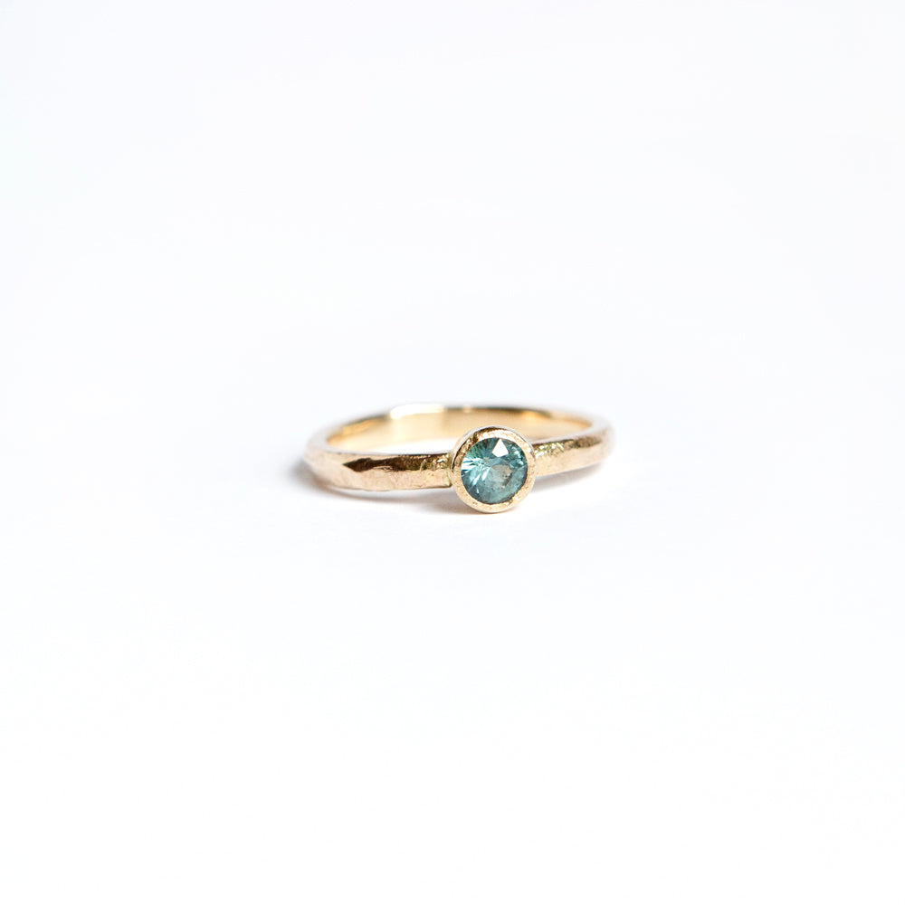 Sandcast Solitaire Ring - 14k Gold + Montana Sapphire