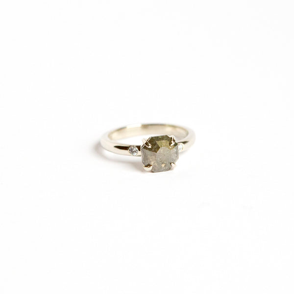 Spruce Ring - 1.25ct Geometric Rose Cut with 2mm Diamond Side Stones