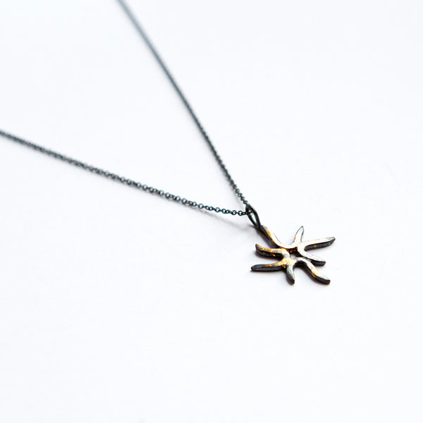 Sol Necklace - 24k Gold + Oxidized Sterling Silver