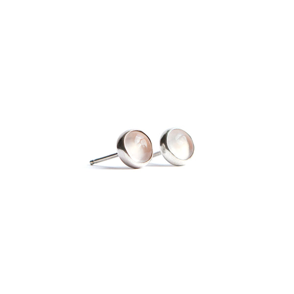 Gemstone Bezel Stud Earrings in Silver