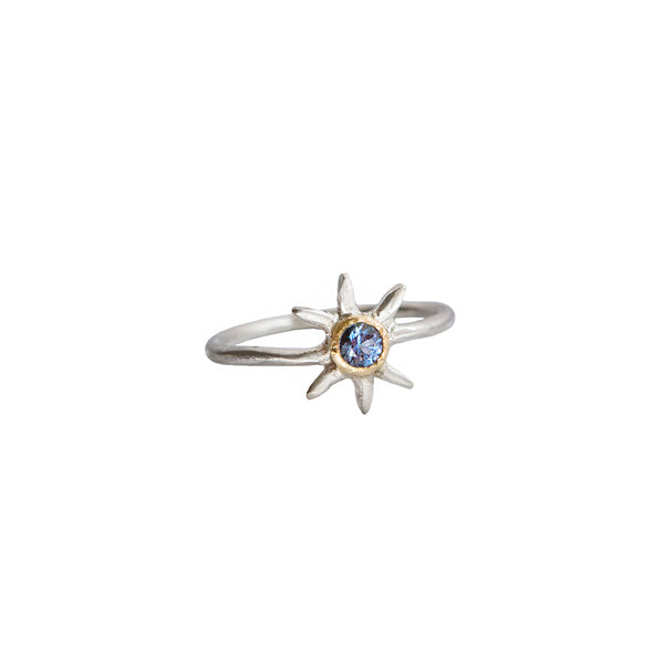 Sol Gemstone Solitaire Ring - Sapphire in 14k Gold + Sterling Silver