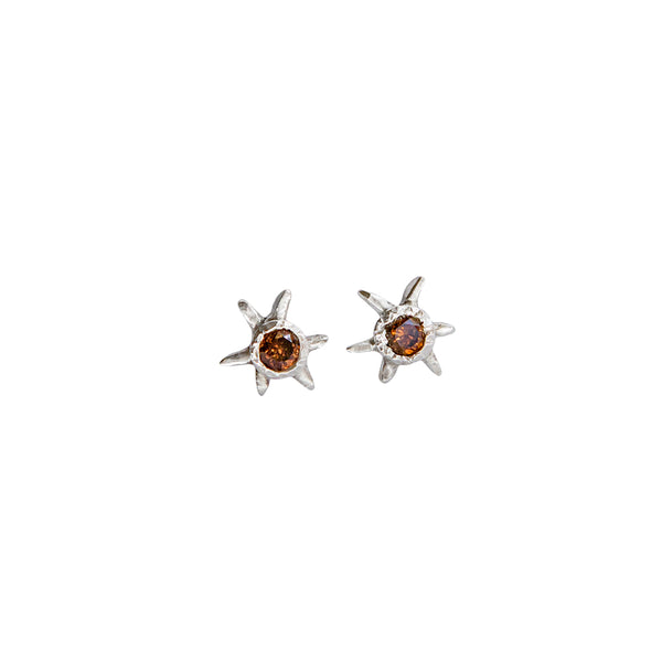 Sol Gemstone Stud Earrings - Cognac Diamond in Sterling Silver