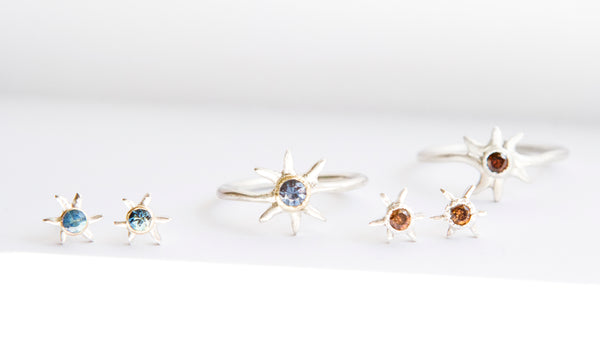 Sol Gemstone Stud Earrings - Sapphire in 14k Gold + in Sterling Silver