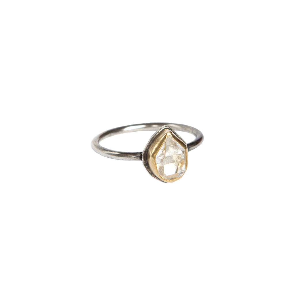 Herkimer Diamond + 22k Gold Glacier Ring