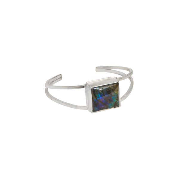 Giant Gemstone Cuff Bracelet - Labradorite in Sterling Silver