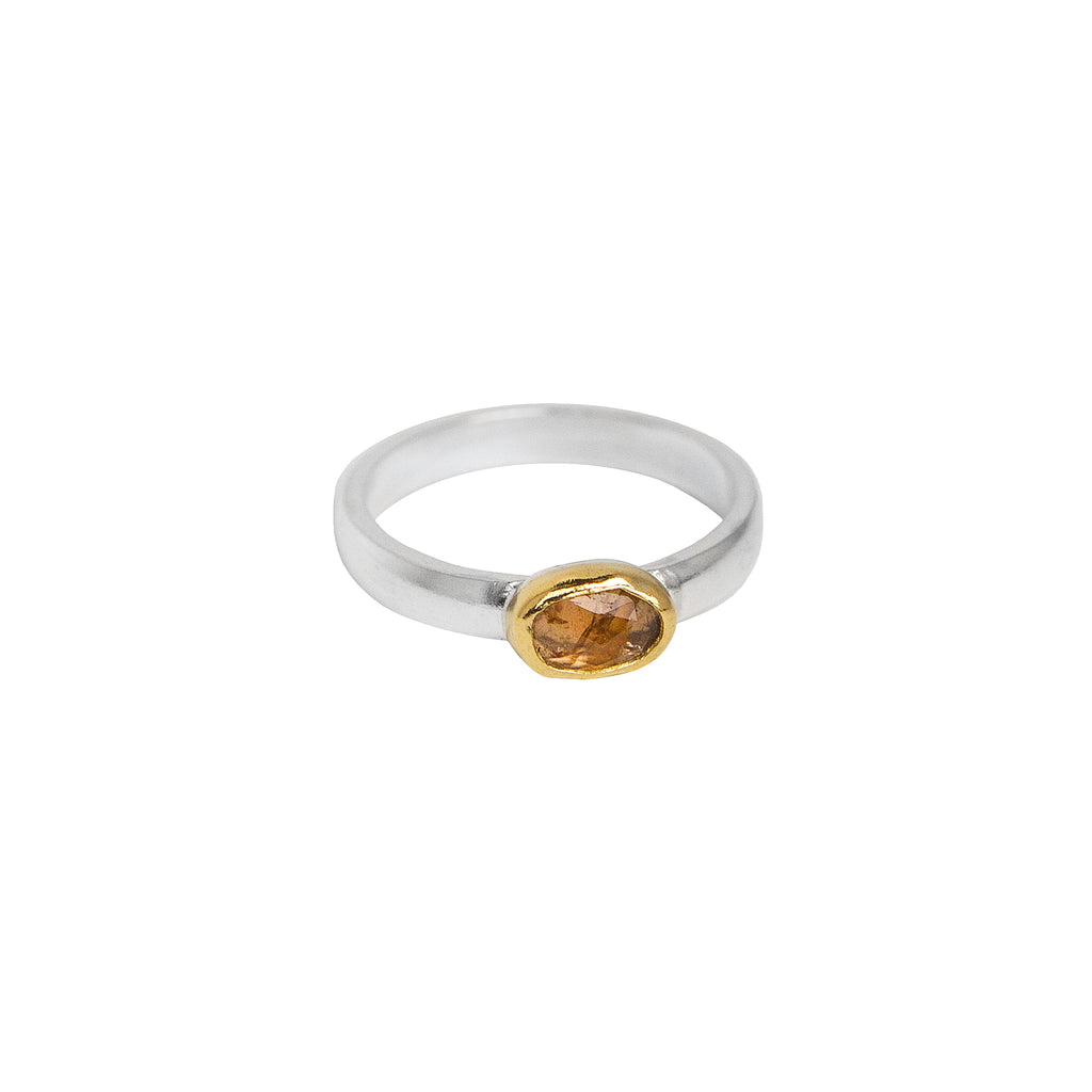 October Ring - Rose Cut Tourmaline in 22k Gold + Sterling Silver No.1