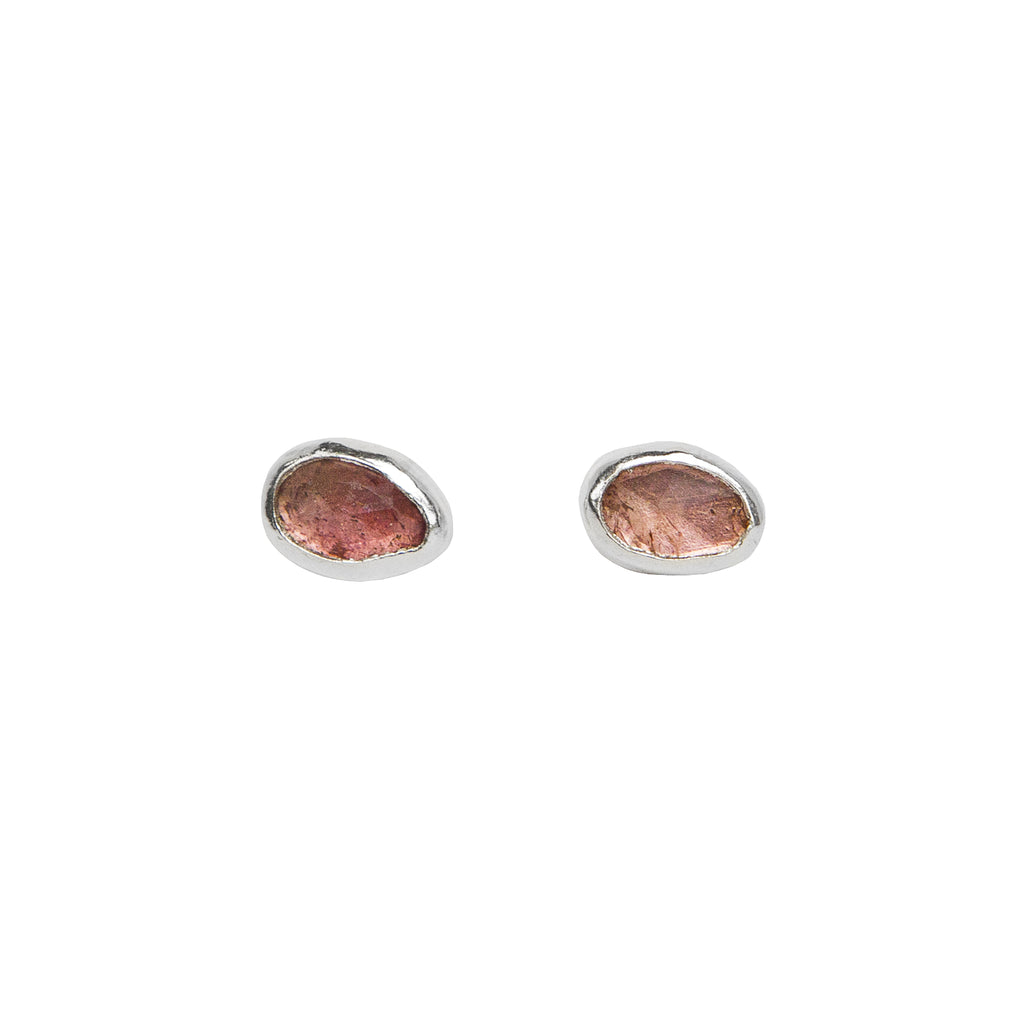Pink Tourmaline Stud Earrings in Sterling Silver