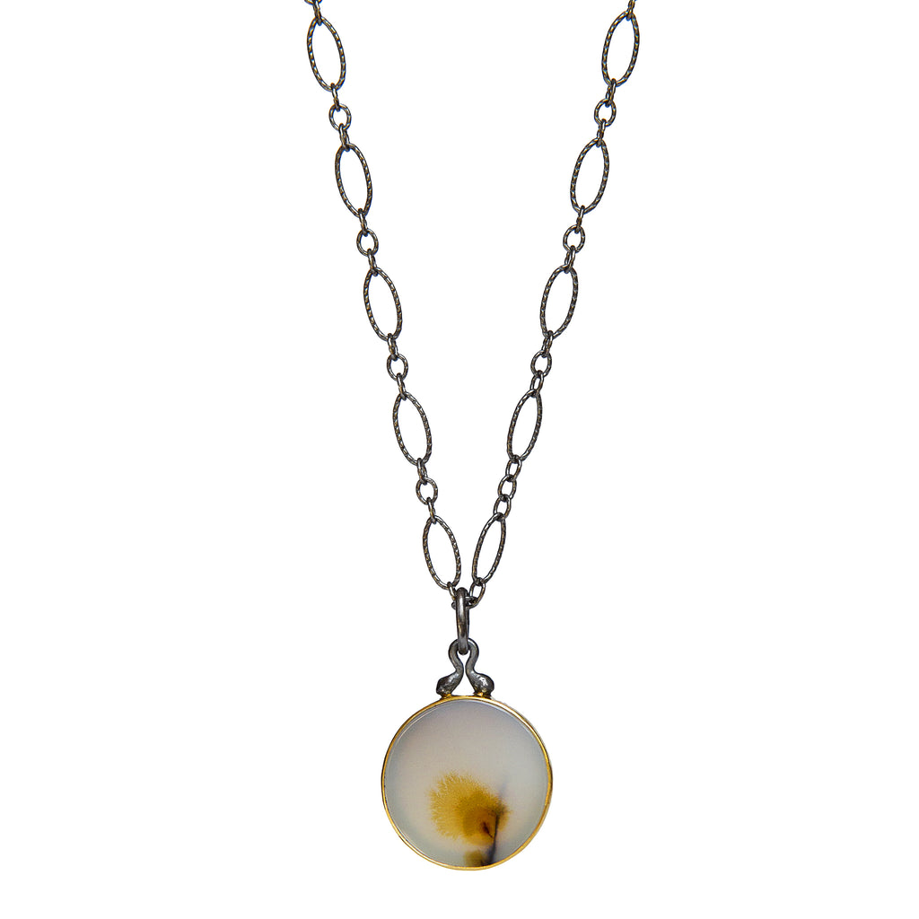 Dendritic Agate Pendant No.3 - 22k Gold + Oxidized Sterling Silver