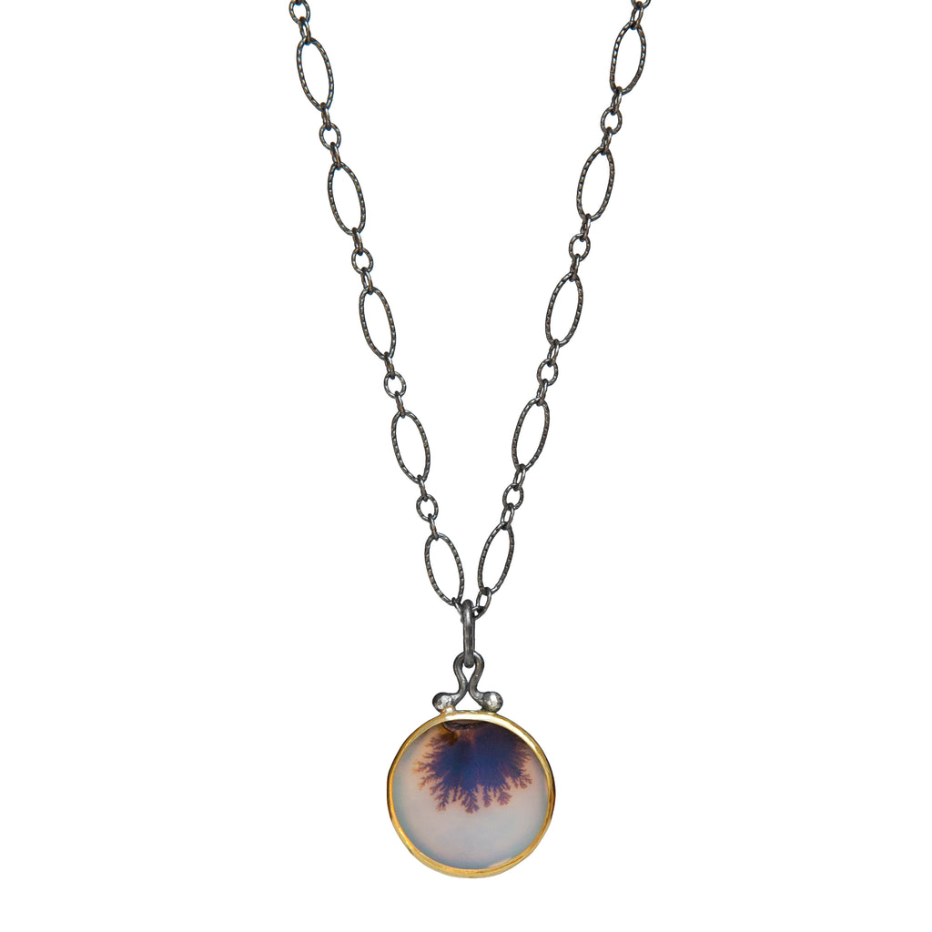 Dendritic Agate Pendant No.4 - 22k Gold + Oxidized Sterling Silver