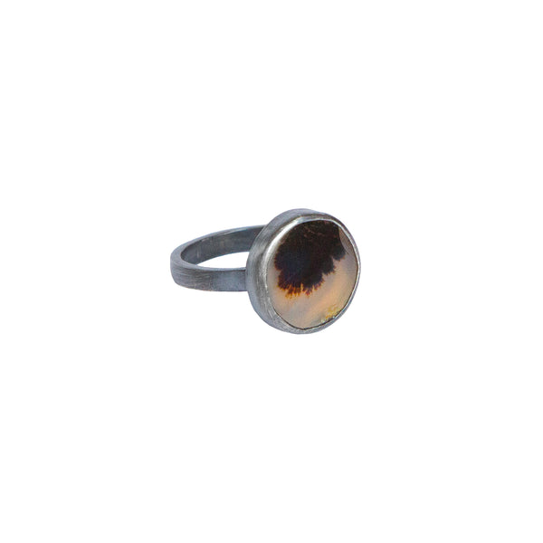 Dendritic Agate Ring No.4 - Oxidized Sterling Silver