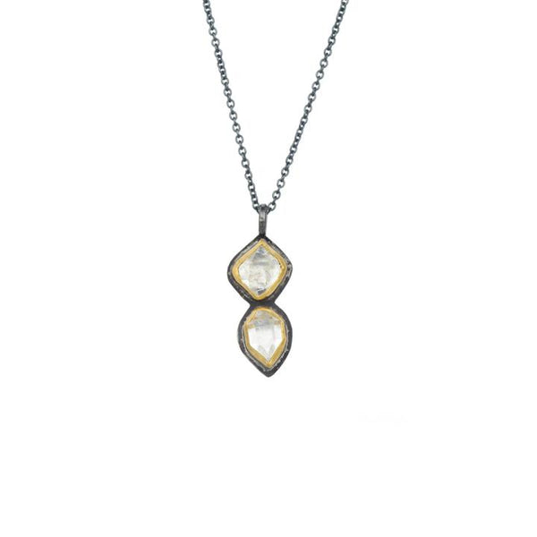 Herkimer Diamond + 22k Gold 2 Stone Glacier Necklace