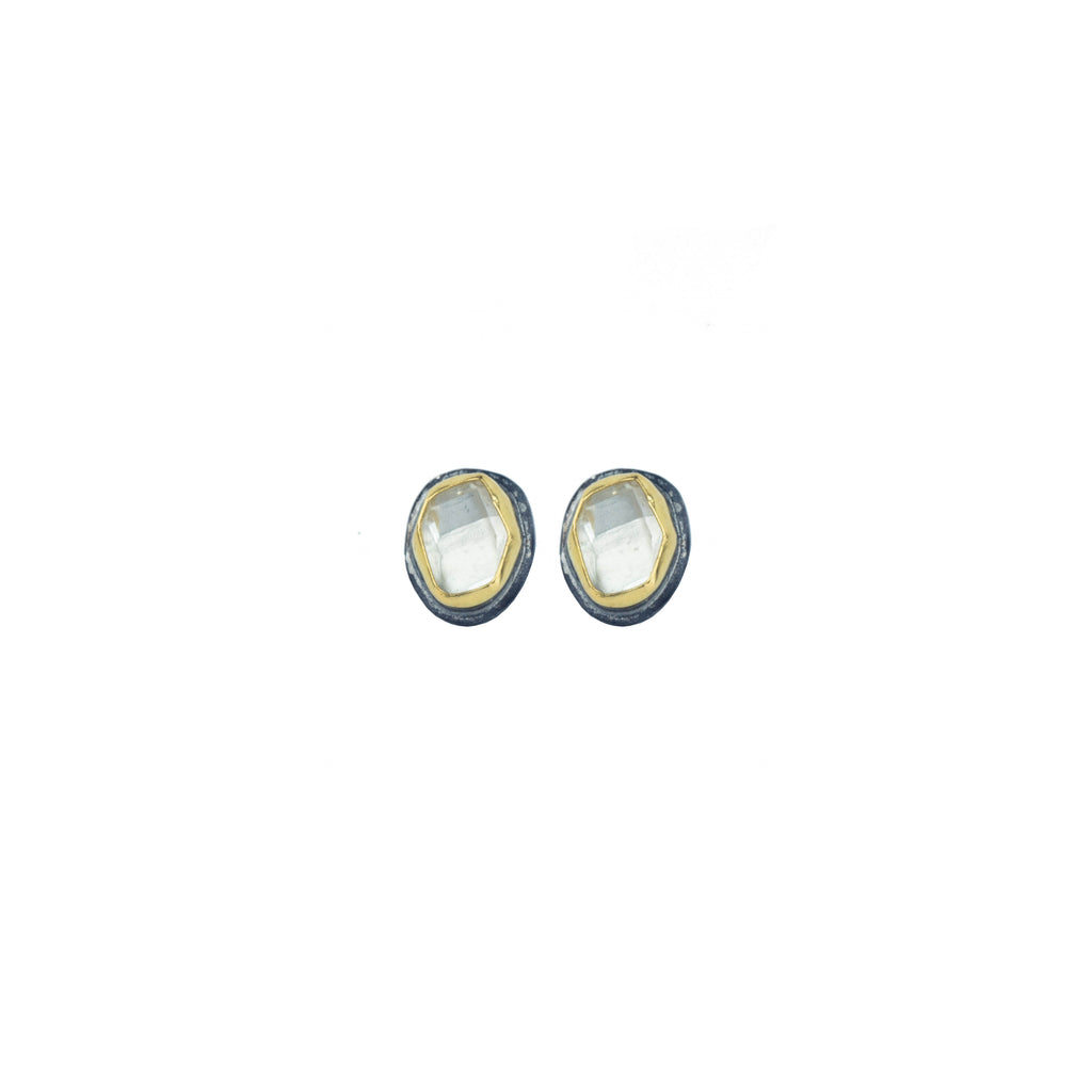 Herkimer Diamond + 22k Gold Glacier Stud Earrings