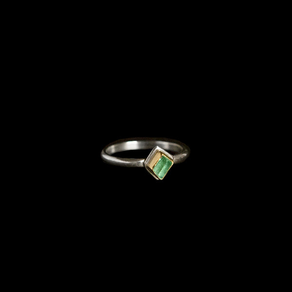 Raw Emerald Stacking Ring - Sterling Silver + 18k Gold Bezel No. 1