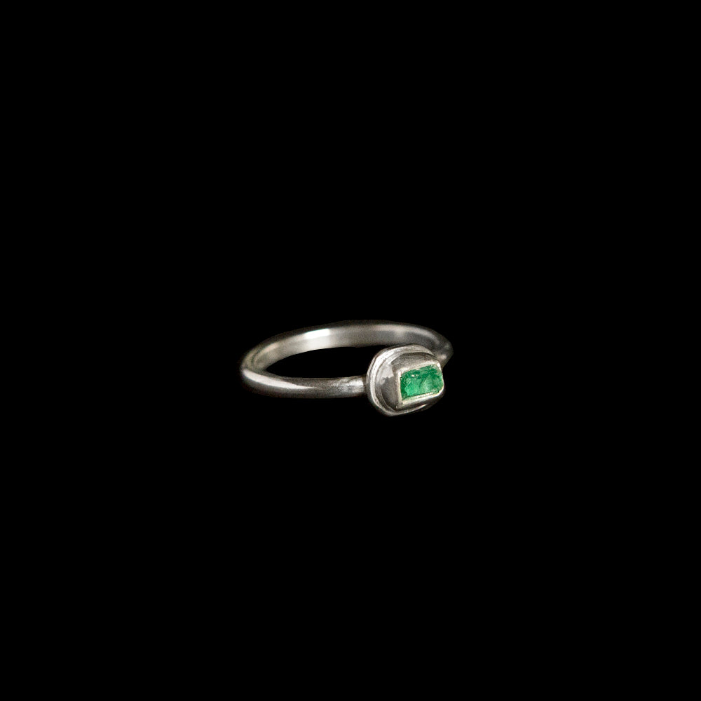 Raw Emerald Stacking Ring in Sterling Silver No. 3