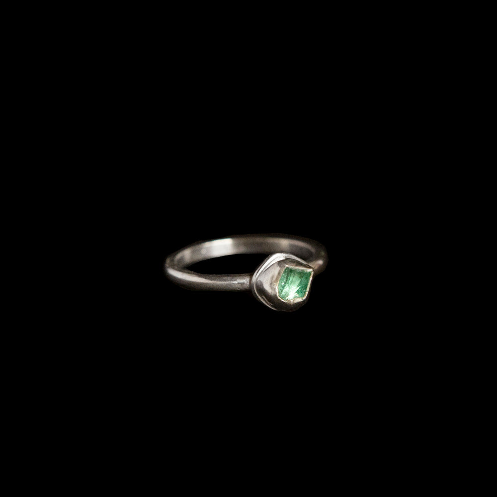 Raw Emerald Stacking Ring in  Sterling Silver No. 1