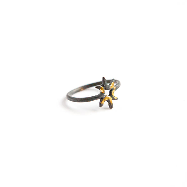 Sol Ring - 24k Gold + Oxidized Sterling Silver