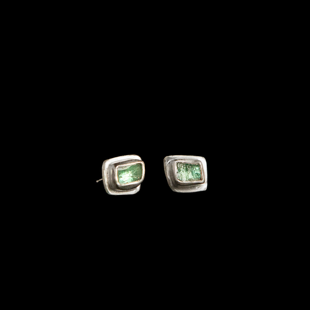 Raw Emerald Stud Earrings in Sterling Silver