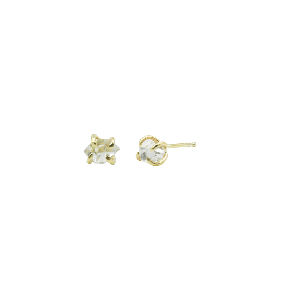 Herkimer Diamond Stud Earrings in 14k Gold