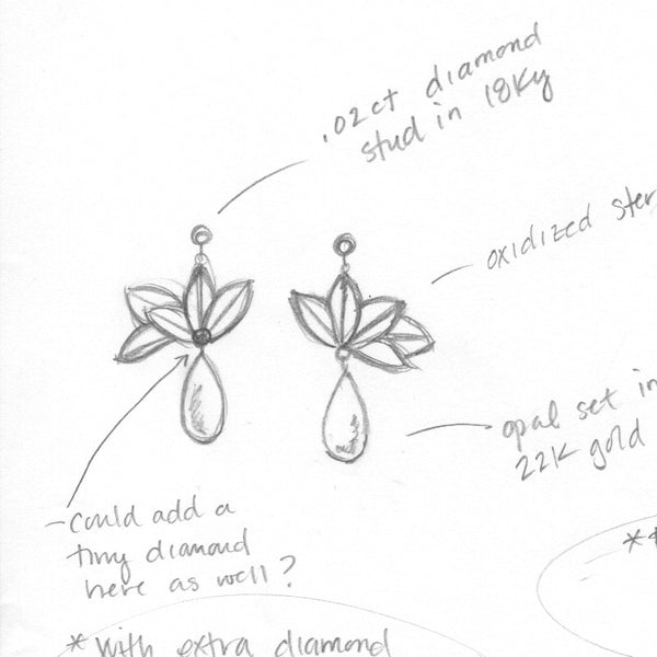 sketch of opal origami earrings for Fire and Forge