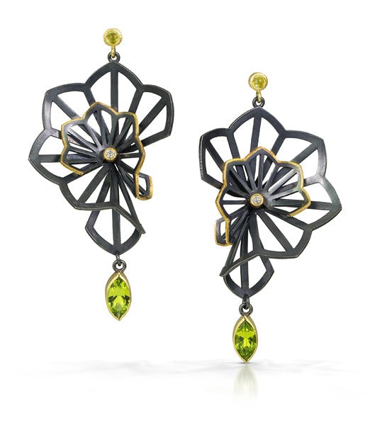 Kirigami Fan Earrings with Arizona peridots and recycled diamonds