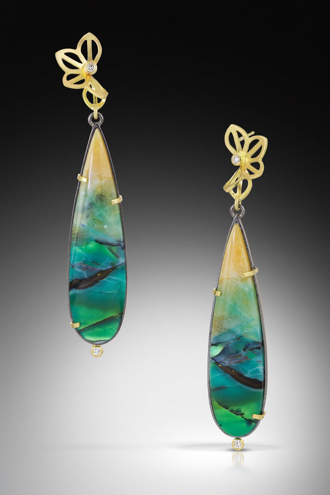 Karin Jacobson Design Opalized Wood Drop Earrings - 18k yellow gold and diamond folded flowers on top and colorful opalized wood drop shaped cabochons on the bottom