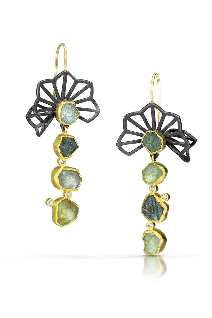 Karin Jacobson Jewelry origami earrings with montana sapphires and diamonds