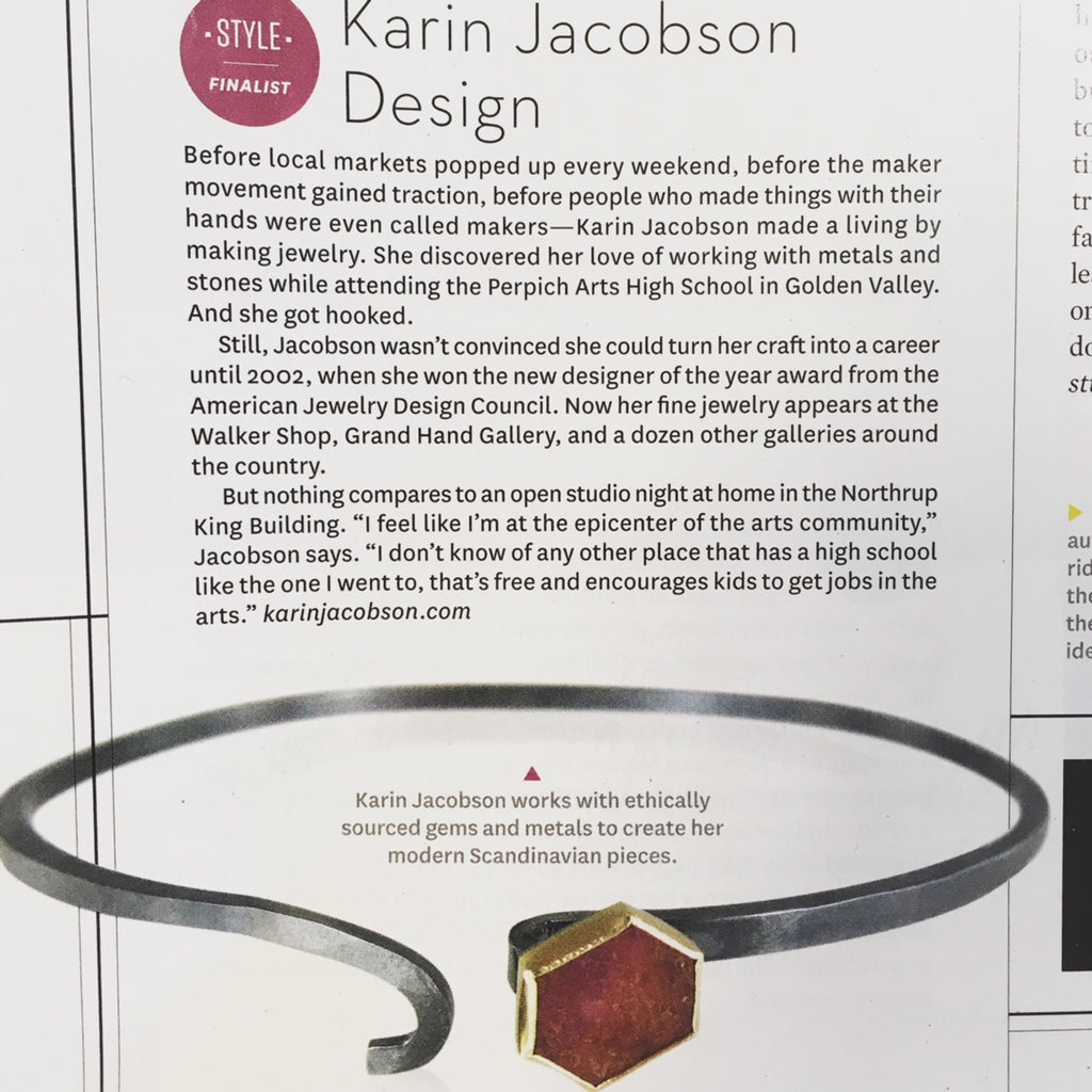 Karin Jacobson Jewelry Design Made in the North Awards finalist 2018