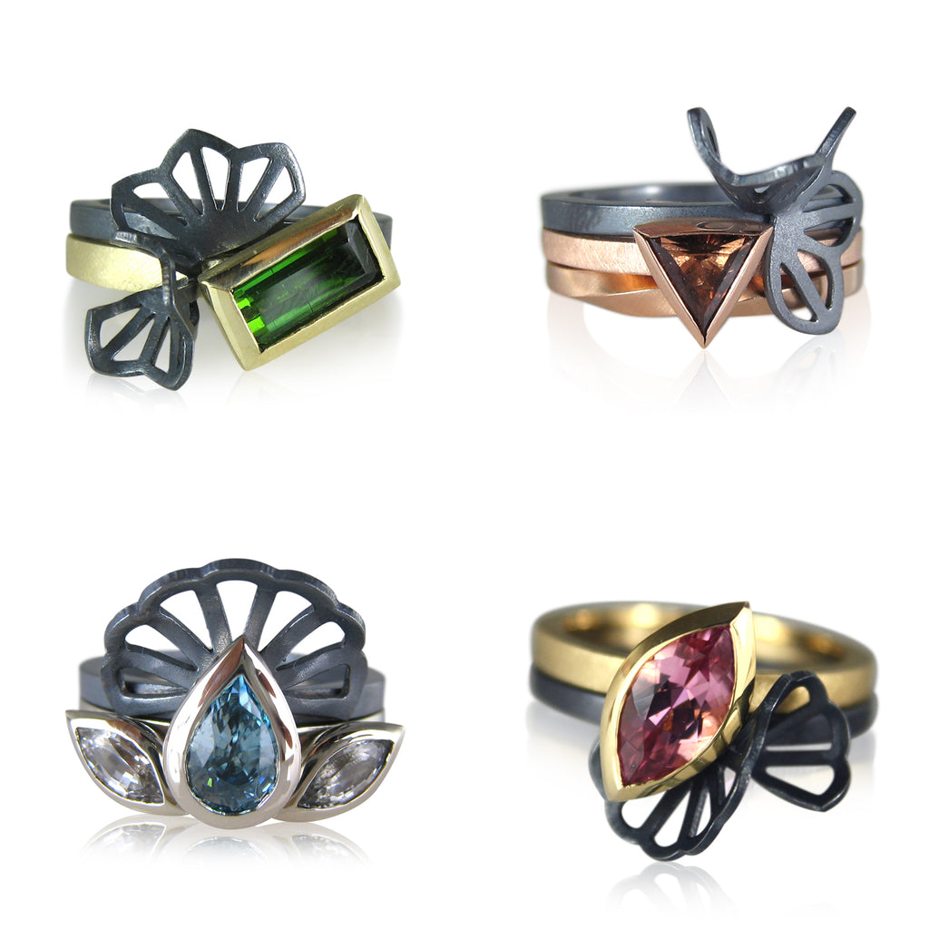 Karin Jacobson Jewelry Design Gemmy Origami Rings Capsule Collection