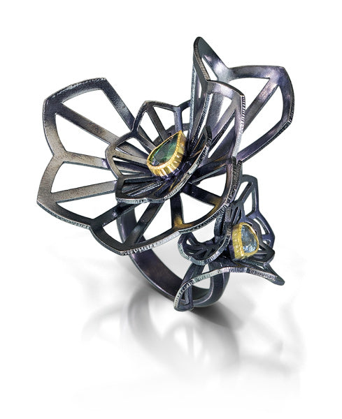 Karin Jacobson Jewelry Design Kirigami Fan Ring pear cut sapphires sterling silver 18k gold