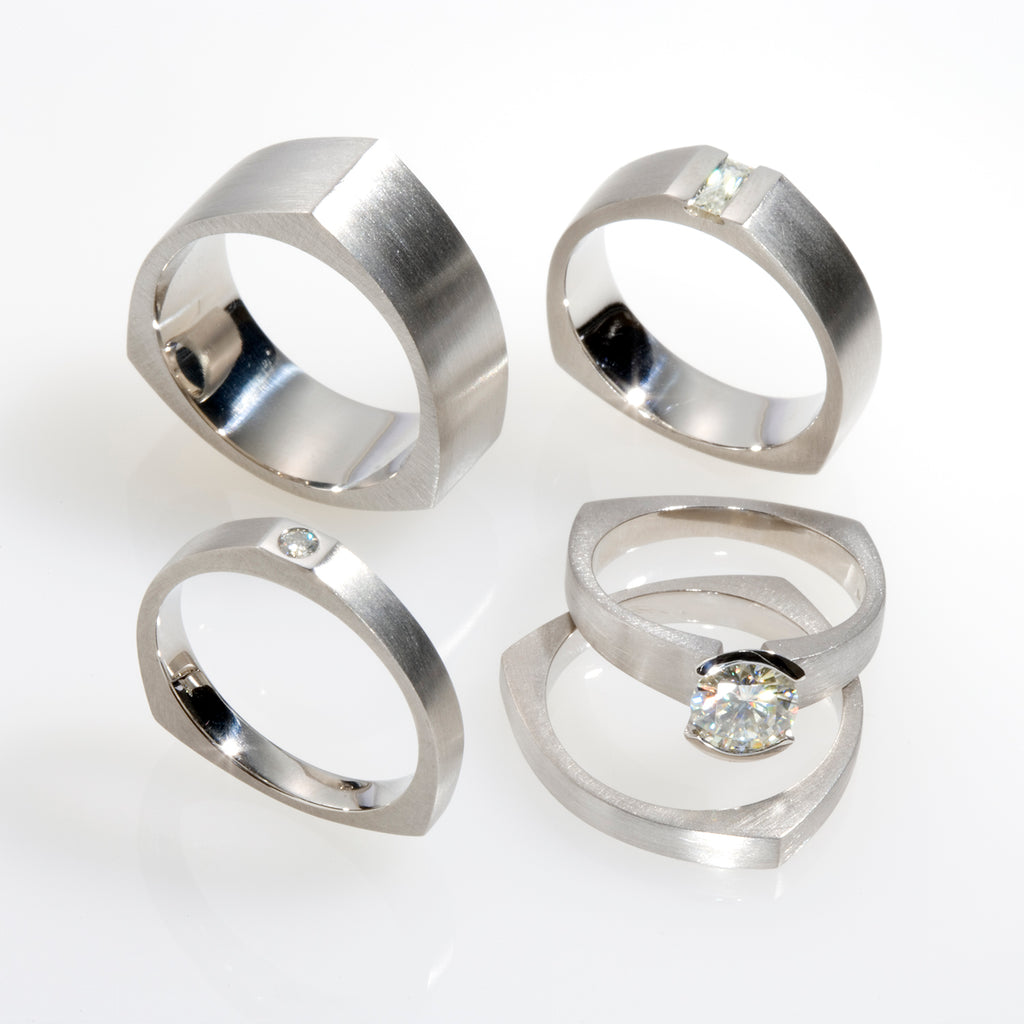 Karin Jacobson Jewelry Design Bergen Wedding Collection palladium Moissanite