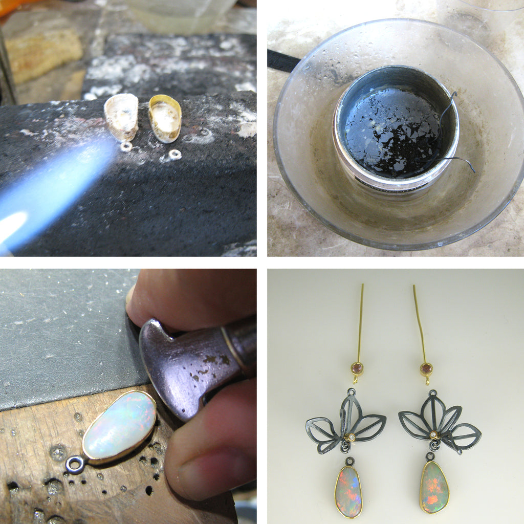 Setting opals and final assembly of Origami Lotus Earrings with Opals