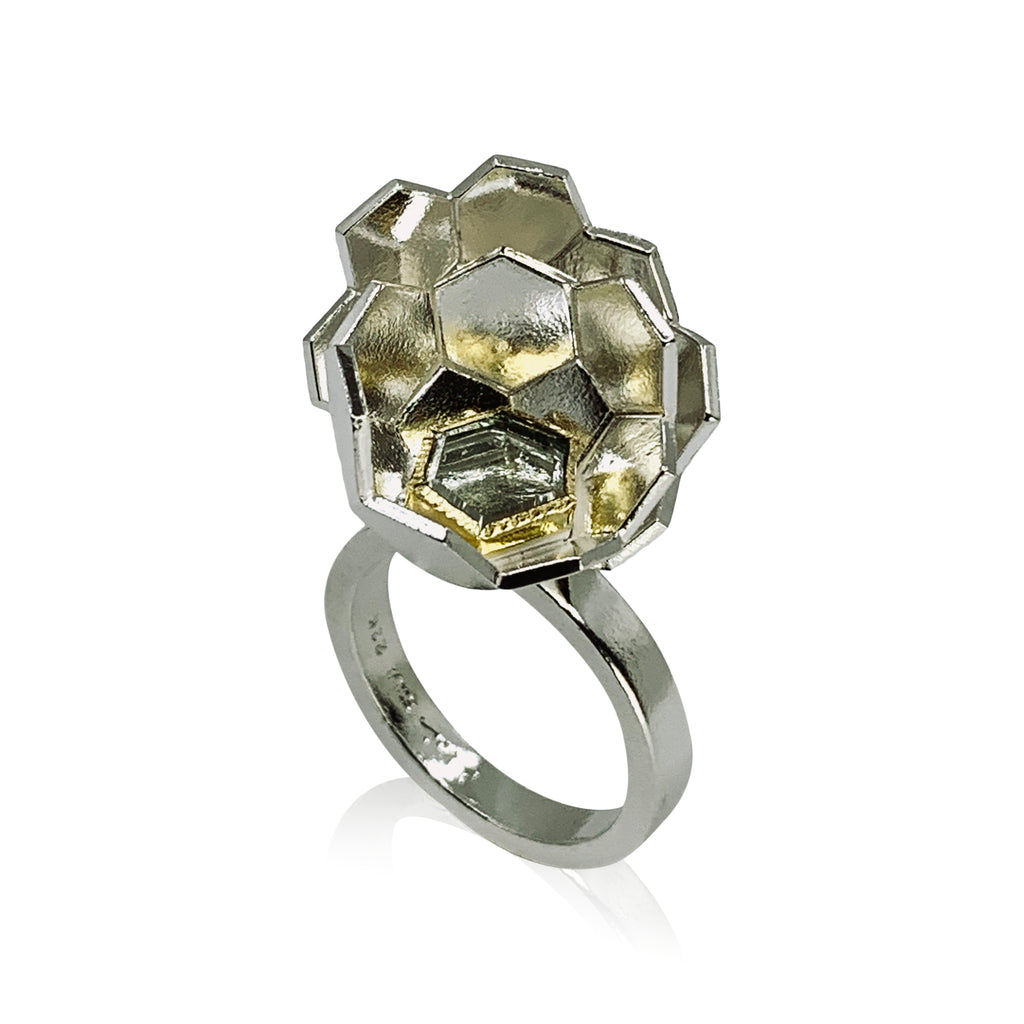 Karin Jacobson Jewelry Design Faceted Globe Ring