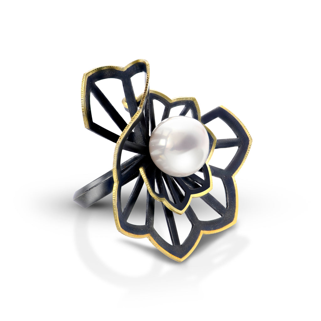 Hyacinth fold ring with freshwater pearl by Karin Jacobson jewelry design