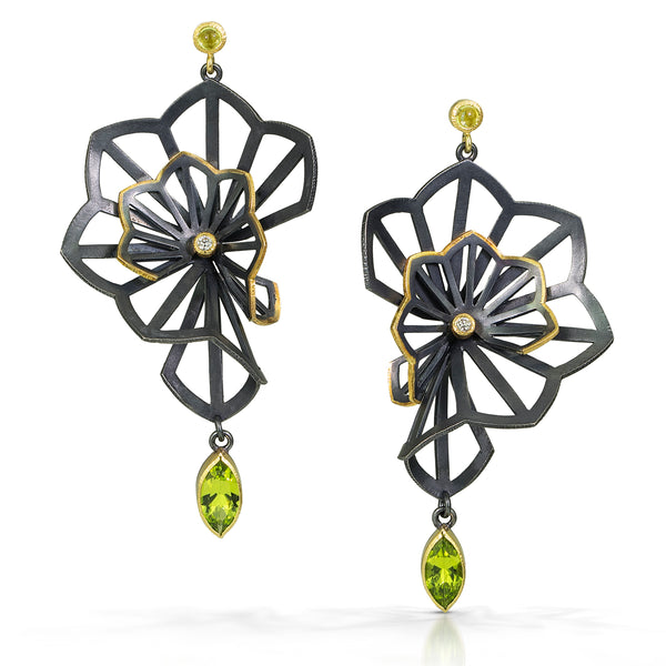 Kirigami Fan Earrings with arizona peridot and diamonds