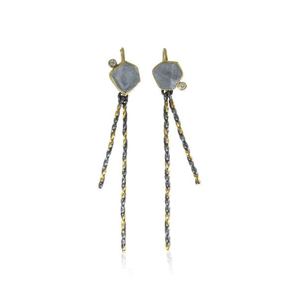 Montana Sapphire Iceberg Earrings with double twist dangles and diamonds