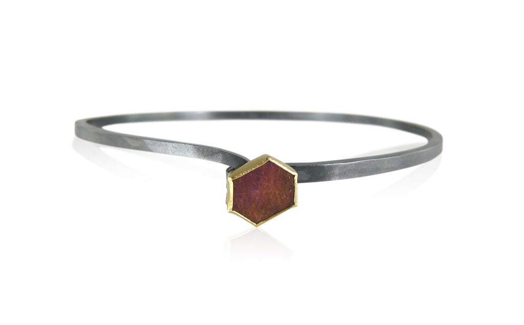 Karin Jacobson Jewelry Design Hook Bracelet with Hexagon shaped fair trade ruby slice