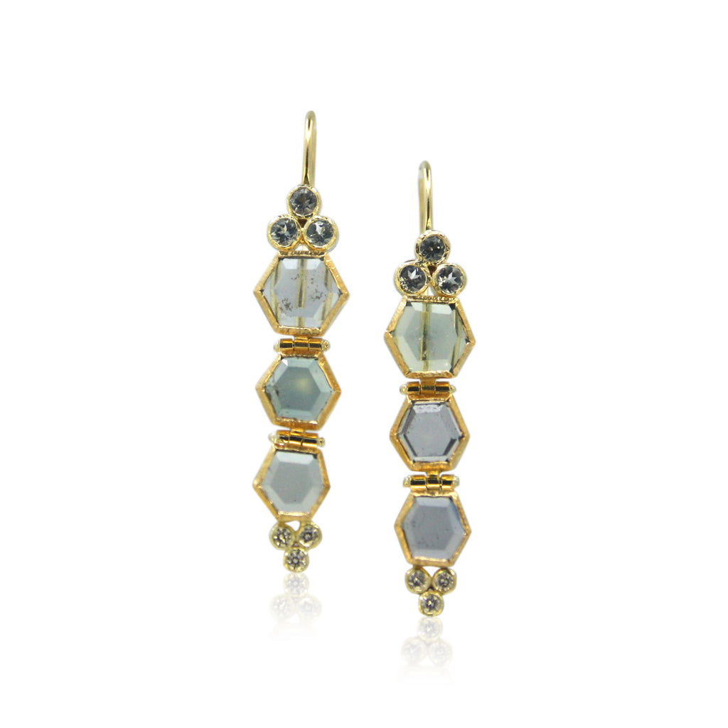 Karin Jacobson Jewelry Design Montana Sapphire and spinel earrings
