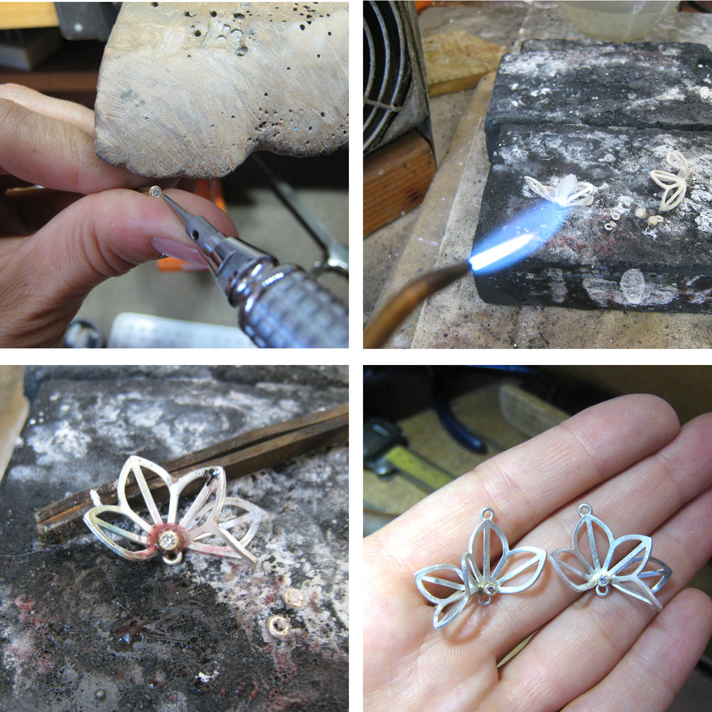 setting and soldering diamonds for Origami Lotus Earrings with opals