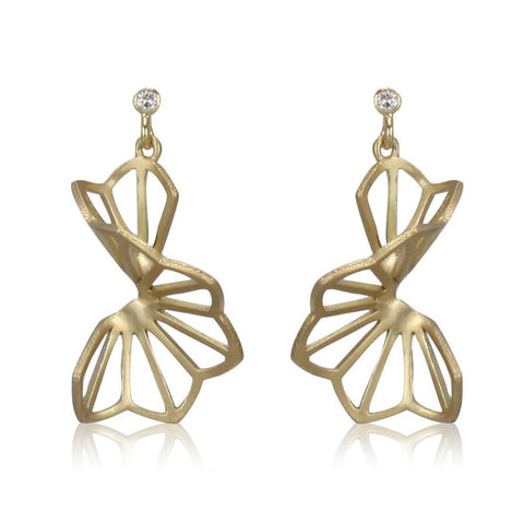 medium hyacinth fold earrings in 18k yellow gold