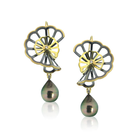 chrysanthemum earrings with black pearls