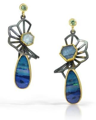australian opal and montana sapphire fan earrings