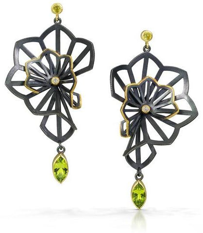 one of a kind kirigami fan earrings with arizona peridot