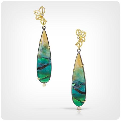opalized wood drop earrings