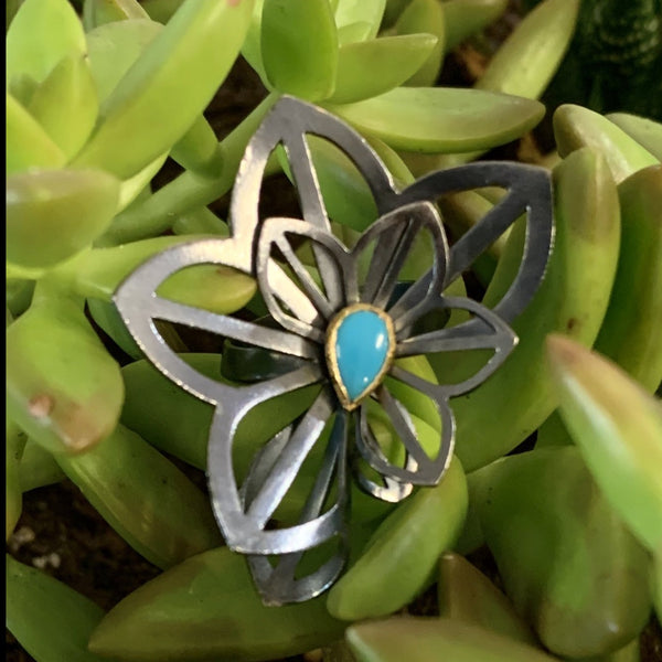 anise origami ring with turquoise