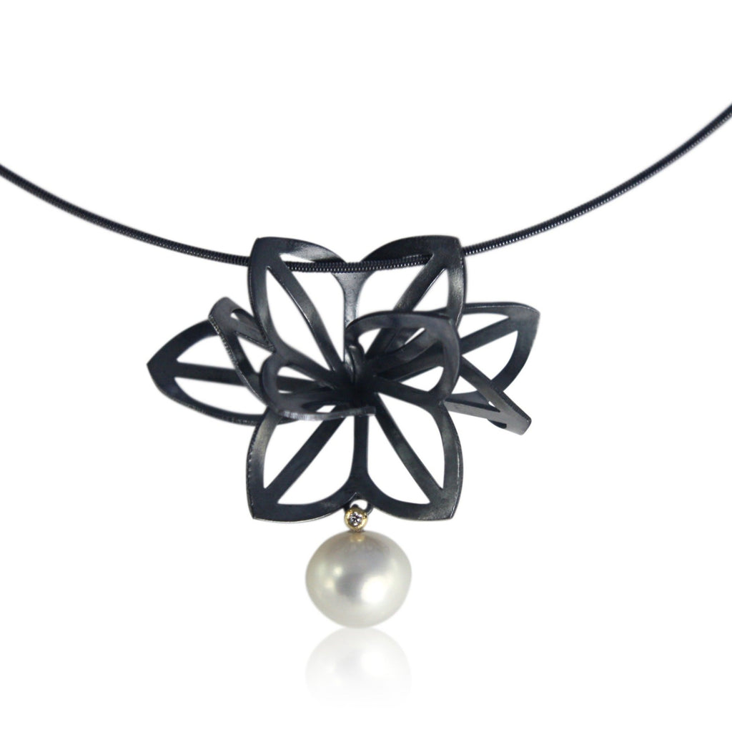 origami dahlia necklace with diamond and pearl