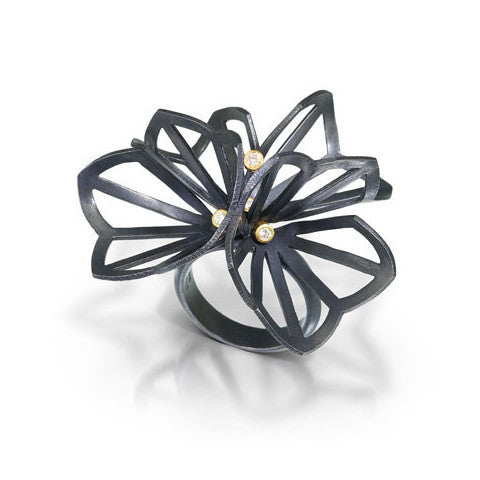 origami ring in sterling silver and 18K gold with diamonds