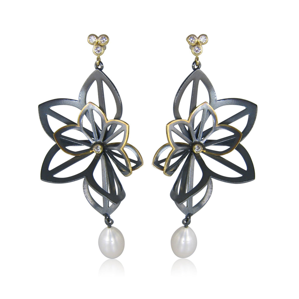 kirigami fan earrings with freshwater pearls